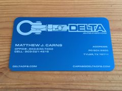 Blue Metal Business Cards (Aluminum)